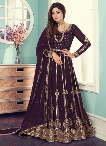 Purple Georgette Wedding Wear Embroidery Work Anarkali Suit