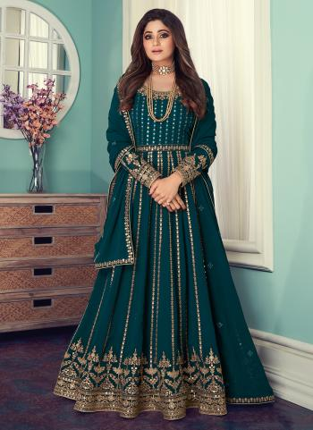 Rama Georgette Wedding Wear Embroidery Work Anarkali Suit