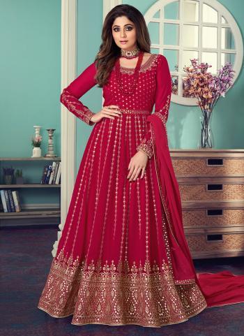 Rani Georgette Wedding Wear Embroidery Work Anarkali Suit