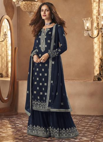 Navy Blue Georgette Party Wear Embroidery Work Sharara Suit