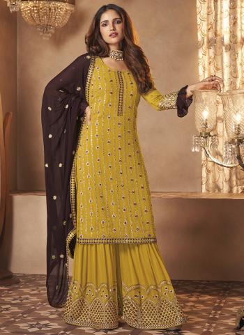Yellow Georgette Party Wear Embroidery Work Sharara Suit