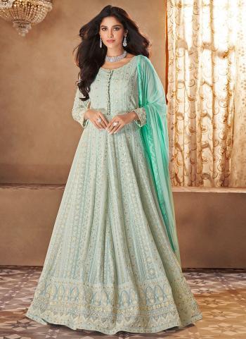Turquoise Blue Georgette Wedding Wear Embroidery Work Anarkali Suit