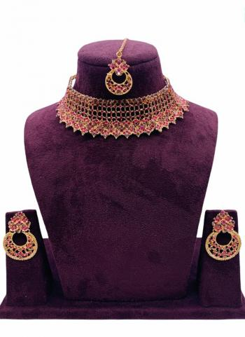 Pink Chokar Style Jewellery Set