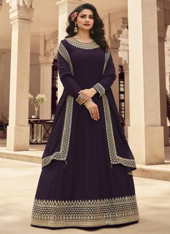 Purple Georgette Reception Wear Embroidery Work Anarkali Suit