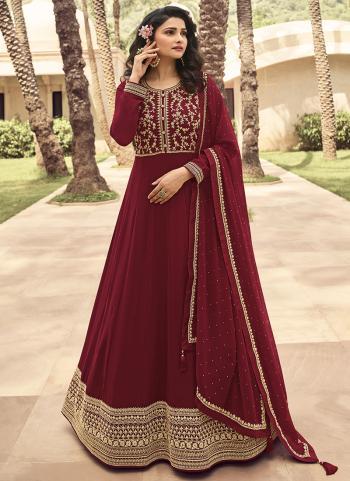 Rani Georgette Reception Wear Embroidery Work Anarkali Suit