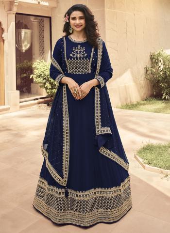 Royal Blue Georgette Reception Wear Embroidery Work Anarkali Suit