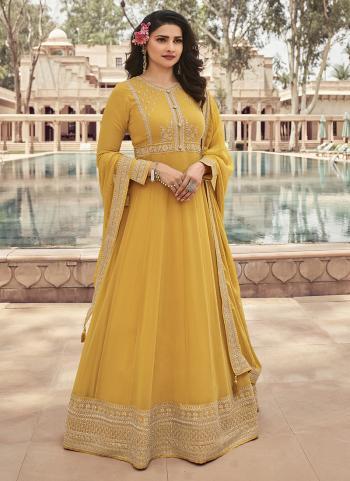 Yellow Georgette Reception Wear Embroidery Work Anarkali Suit