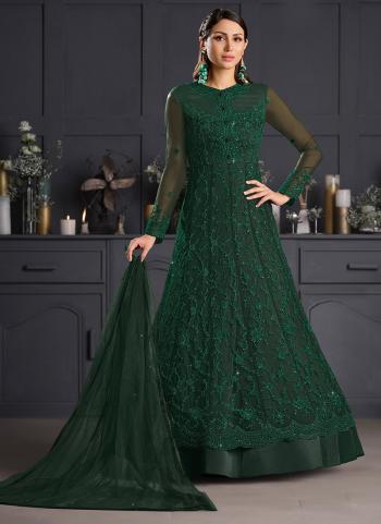 Bottle Green Net Reception Wear Embroidery Work Anarkali Suit