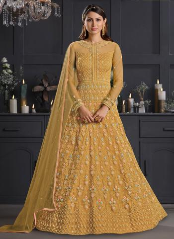 Golden Net Reception Wear Embroidery Work Anarkali Suit