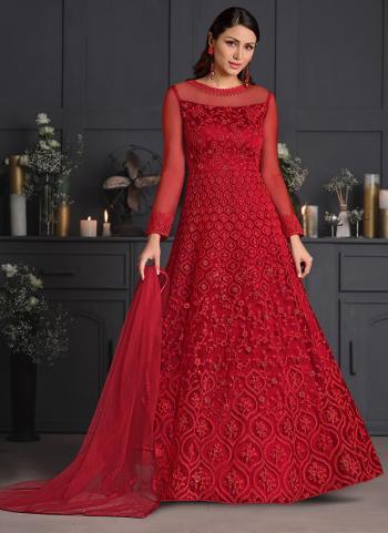 Rani Net Reception Wear Embroidery Work Anarkali Suit