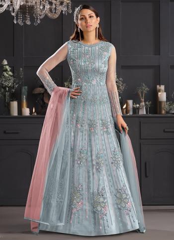 Sky Blue Net Reception Wear Embroidery Work Anarkali Suit