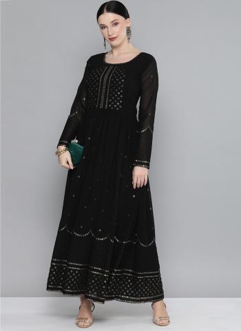 Black Georgette Party Wear Sequins Work Gown