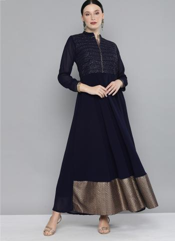 Navy Blue Georgette Party Wear Sequins Work Gown