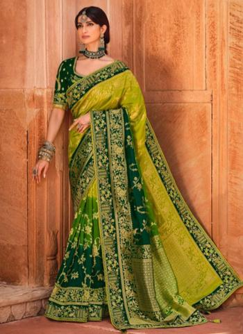 Light Green Dola Silk Reception Wear Embroidery Work Saree