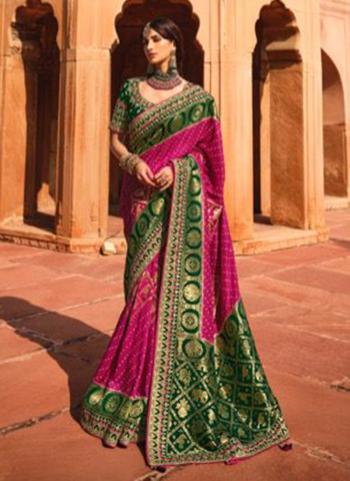 Violet Dola Silk Reception Wear Embroidery Work Saree