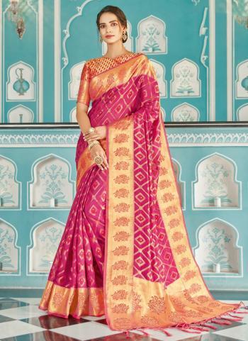 Pink Organza Wedding Wear Weaving Saree