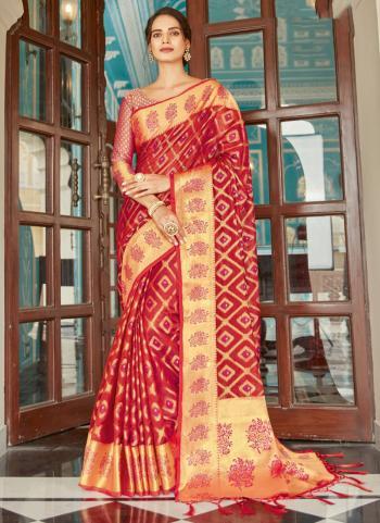 Red Organza Wedding Wear Weaving Saree