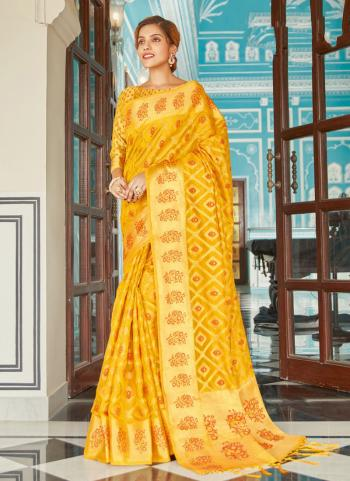 Yellow Organza Wedding Wear Weaving Saree