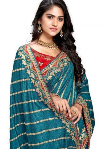 Firozi Fancy Silk Traditional Wear Gota Patti Work Saree