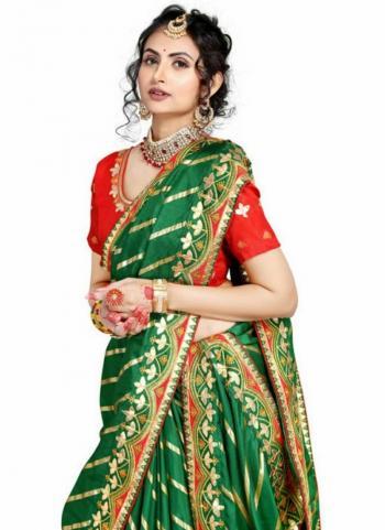 Green Fancy Silk Traditional Wear Gota Patti Work Saree