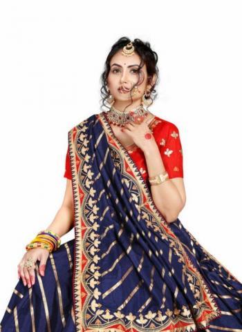 Navy Blue Fancy Silk Traditional Wear Gota Patti Work Saree