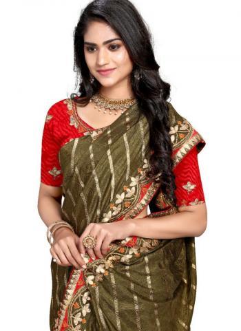 Olive Green Fancy Silk Traditional Wear Gota Patti Work Saree