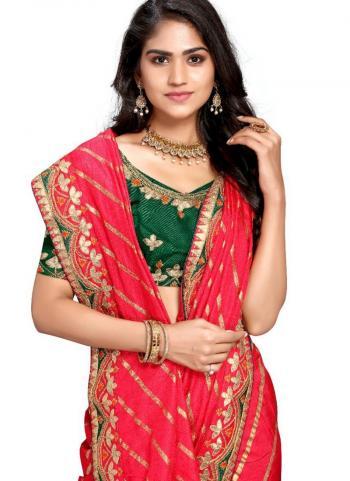 Pink Fancy Silk Traditional Wear Gota Patti Work Saree