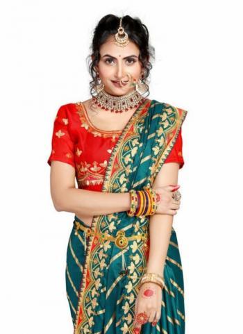 Rama Fancy Silk Traditional Wear Gota Patti Work Saree