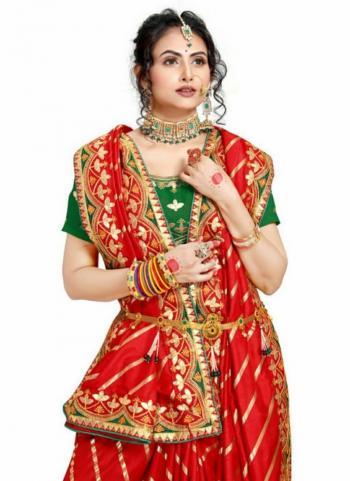 Red Fancy Silk Traditional Wear Gota Patti Work Saree