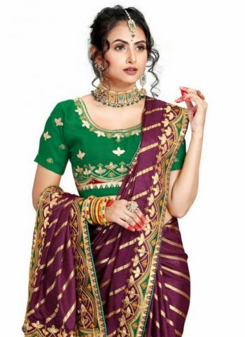 Wine Fancy Silk Traditional Wear Gota Patti Work Saree