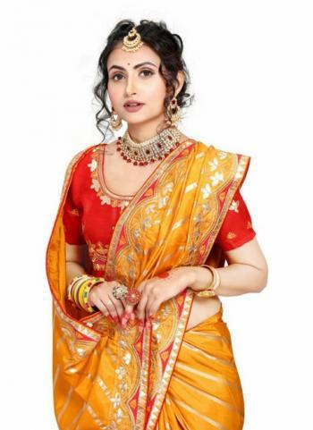Yellow Fancy Silk Traditional Wear Gota Patti Work Saree