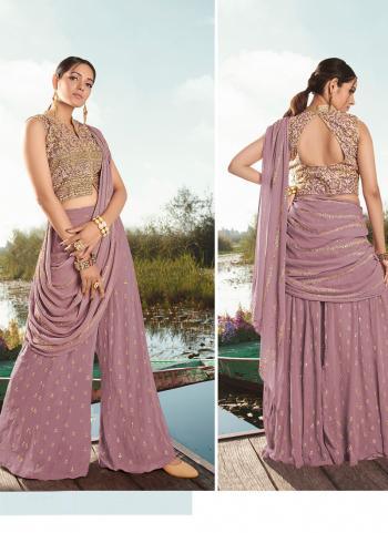 Purple Viscose Net Party Wear Hand Work Saree