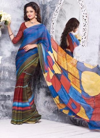 Blooming Chiffon Satin Multi Colour Special Designer Saree