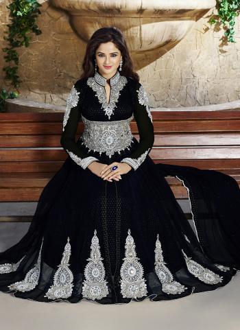 Opulent Black Party Wear Designer Anarkali Suit