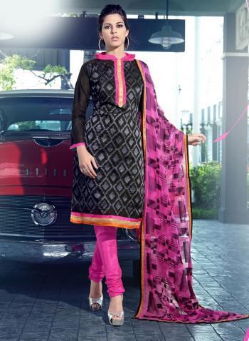 Black Cotton silk Straight Salwar Suit
