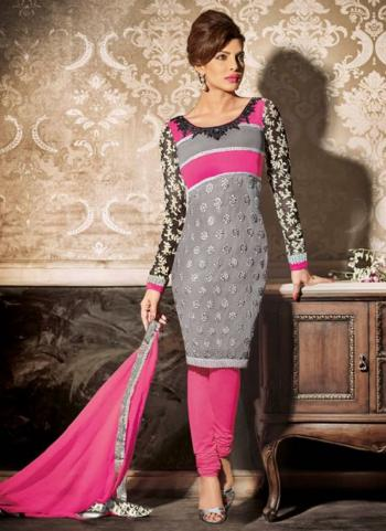 Grey GeorgetteParty Wear Embroidered Work Salwar Suit