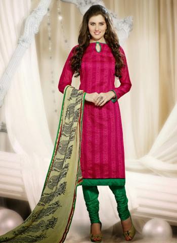 Beautiful Pink Chanderi Straight Salwar Suit