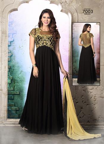 Flowing Black Party Wear Designer Anarkali Suit