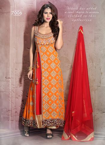 Innovative Orange Party Wear Designer Anarkali Suit