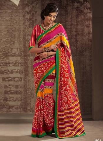 Budding Multi Colour Cotton Designer Saree