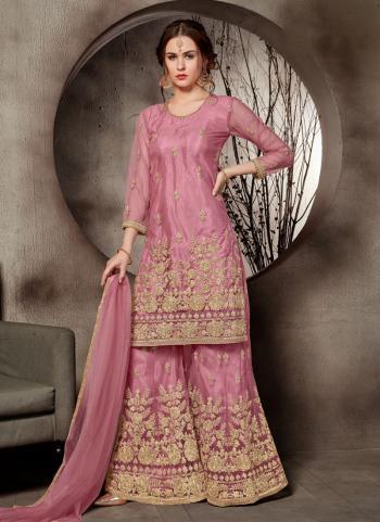 Pink Net Wedding Wear Embroidery Work Sharara Suit