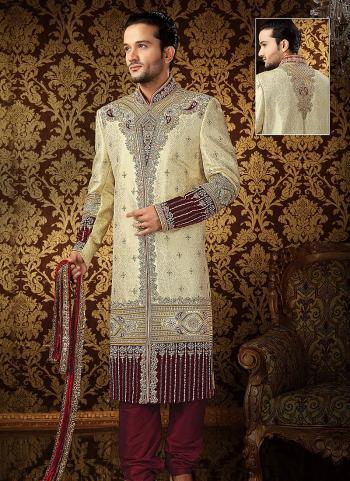 Enticing Banarasi Silk Wedding Sherwani