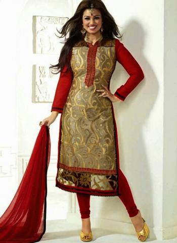 Rani Georgette Festival Wear Embroidery Work Churidar Style