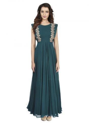 Emerald Evening Green Georgette Gown With Transy Back Embroded With Resham And Zari Work
