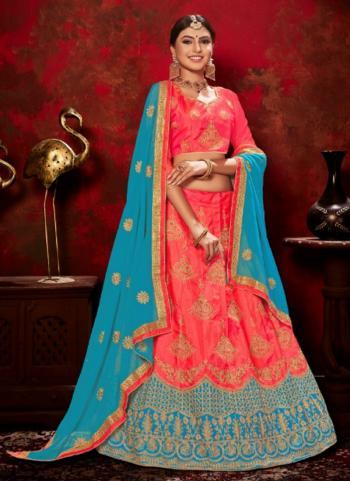 Gajri Sana Silk Wedding Wear Embroidery Work Lehenga Choli