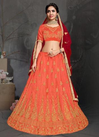 Orange Satin Festival Wear Embroidery Work Lehenga Choli