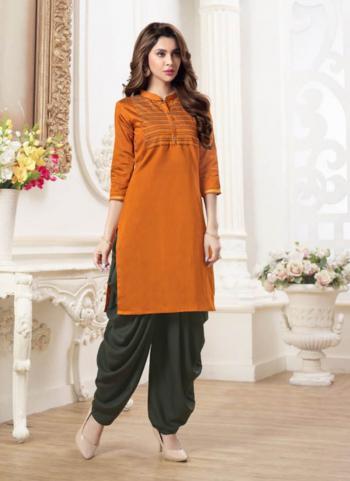 Orange Silk Daily Wear Resham Work Kurti With Patiala