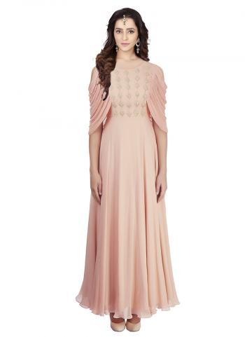 Peach Satin Georgette Drape Gown With Zari And Sequence Work