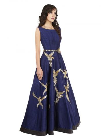 Row Silk Navy Bule Party Wear Gown Fits With Belt Enchand With Zari Work