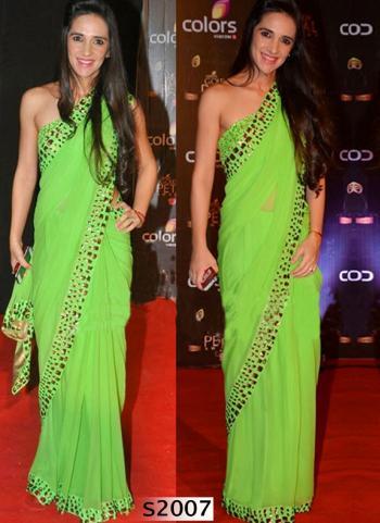 Delightsome Green Georgette Designer Saree